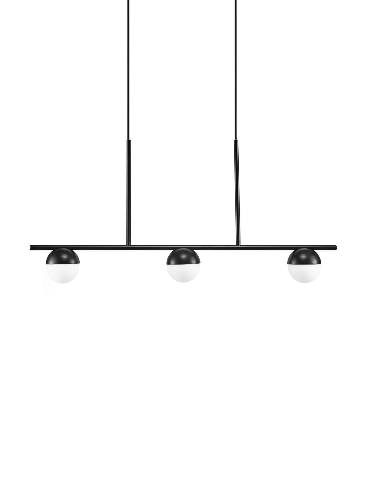 Große Pendelleuchte Contina, Lampenschirm: Opalglas, Baldachin: Metall, beschichtet, Weiß, Schwarz, 90 x 242 cm