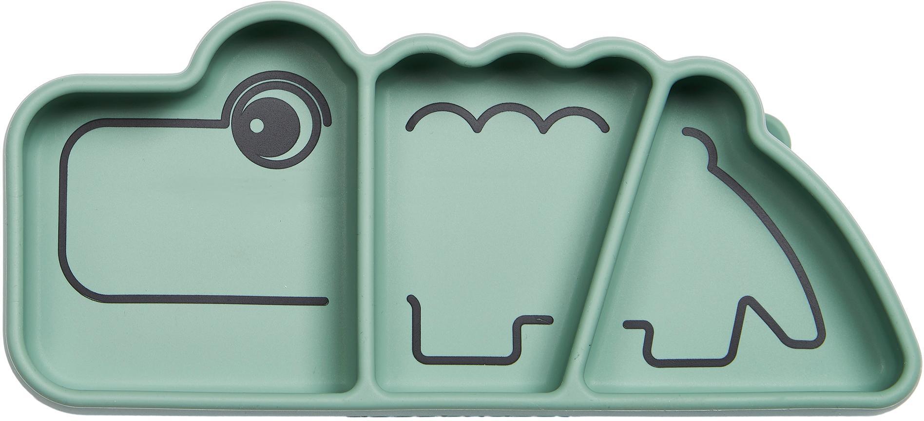Piatto snack Stick & Stay Croco, Silicone, adatto agli alimenti Il silicone è morbido e durevole, resistente al calore e adatto per l'uso in microonde, forni e congelatori., Verde, Larg. 21 x Alt. 3 cm
