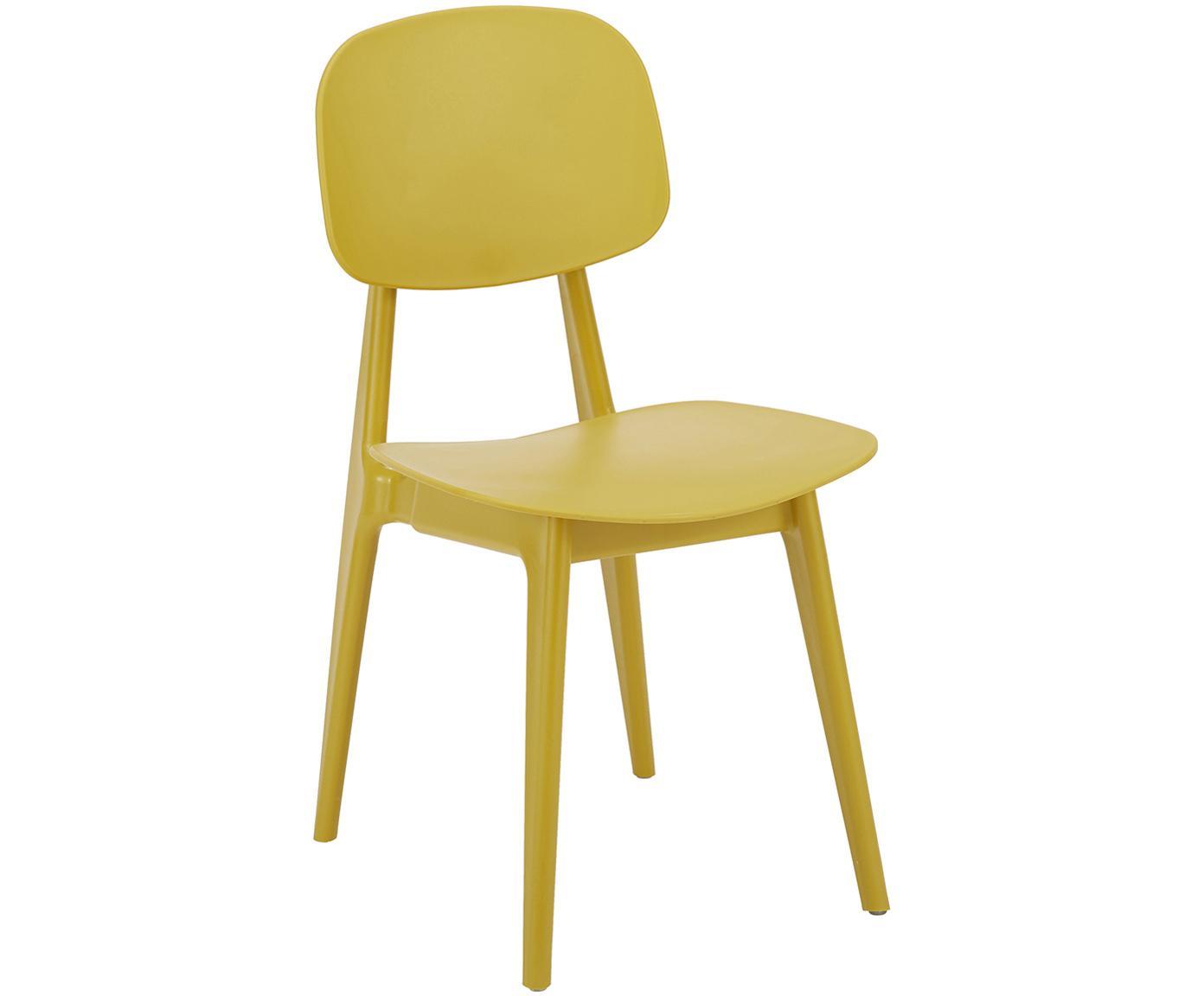 Kunststof stoelen Smilla, 2 stuks, Zitvlak: kunststof, Poten: gepoedercoat metaal, Mat geel, B 43 x D 49 cm