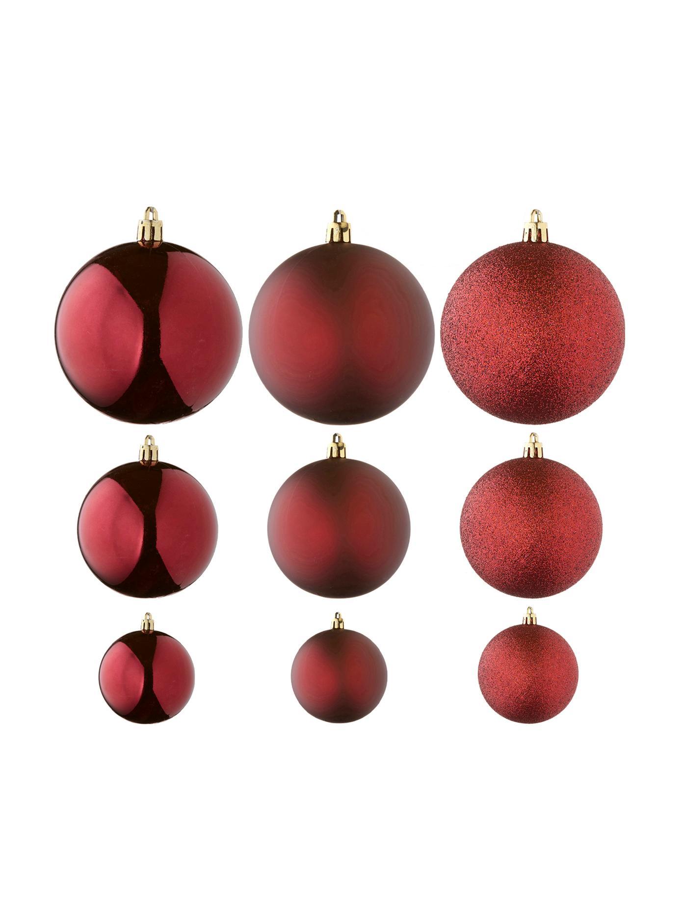 Kerstballenset Silvia, 46-delig, Kunststof, Donkerrood, Verschillende formaten