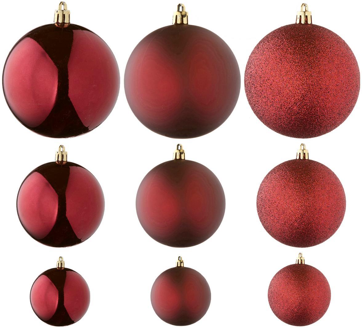 Set de bolas de Navidad Natalie, 46uds., Plástico, Rojo oscuro, Set de diferentes tamaños