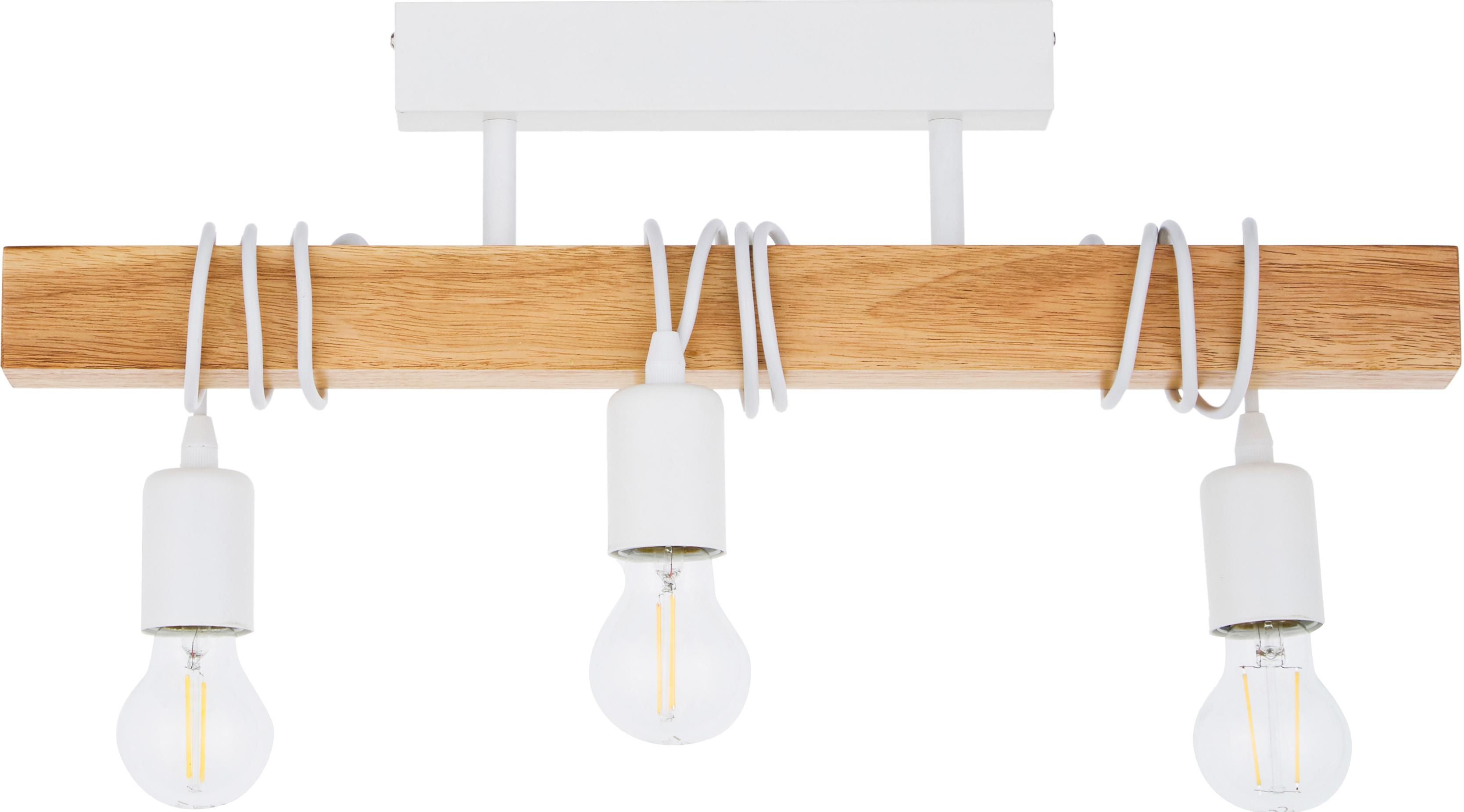 Faretti da soffitto Townshend, Acciaio rivestito, legno, Bianco, legno, Larg. 55 x Alt. 27 cm