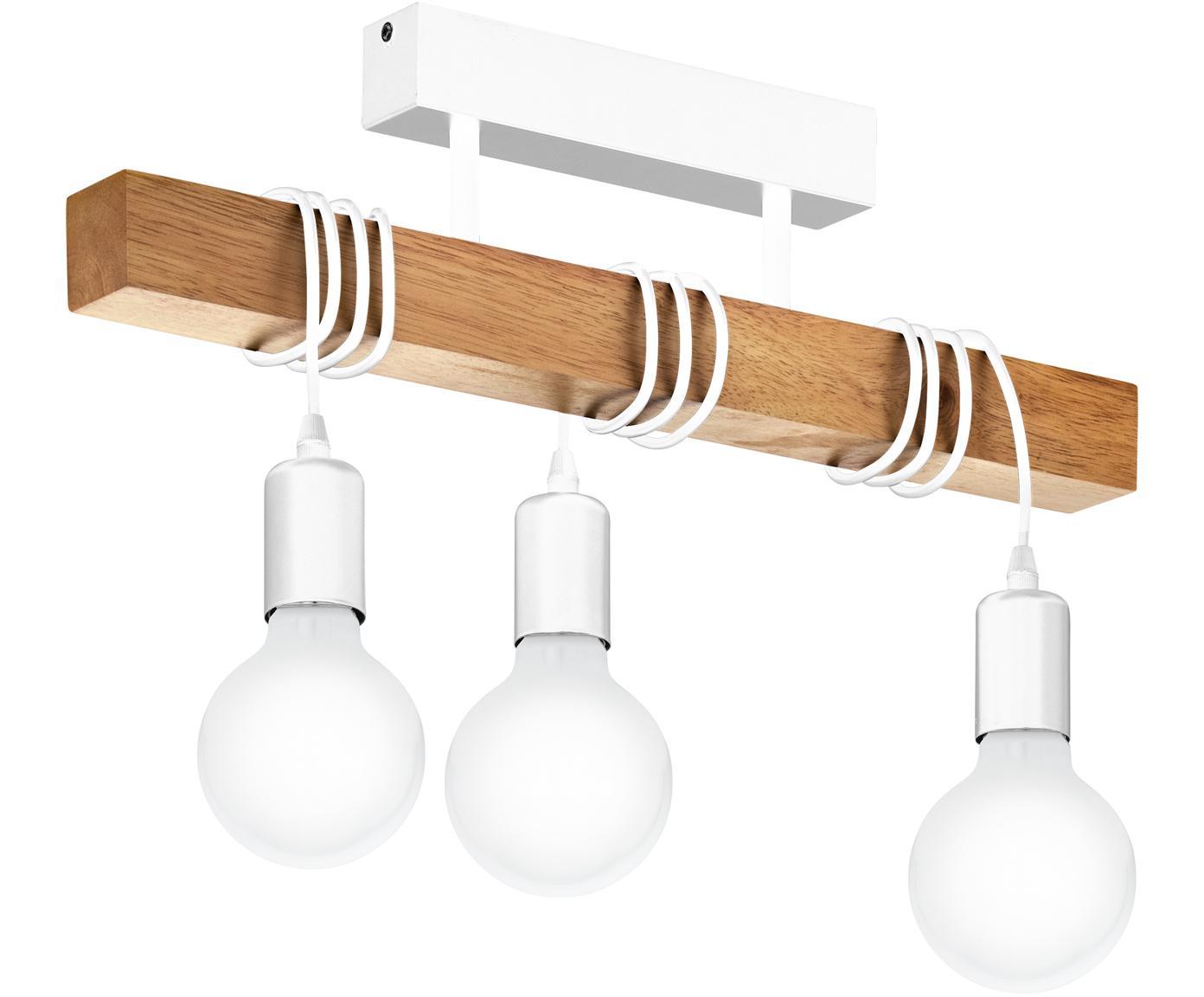 Lampa sufitowa Townshend, Biały, drewno naturalne, S 55 x W 27 cm