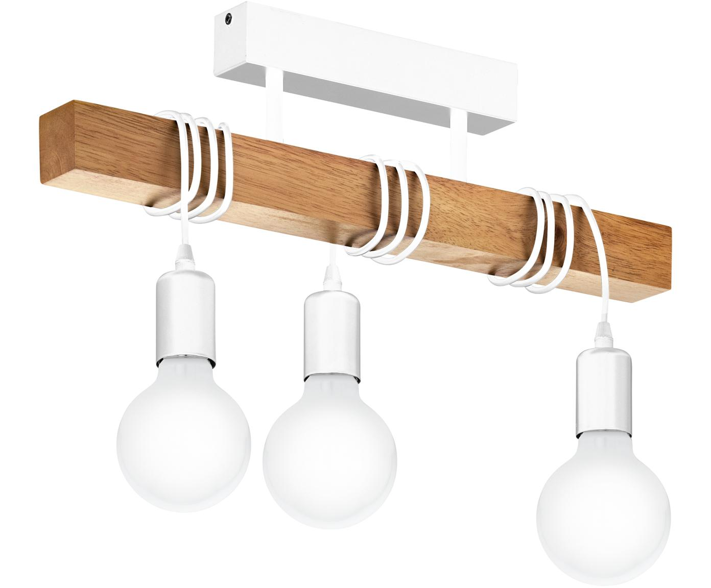Plafón de madera Townshend, Cable: plástico, Blanco, madera, An 55 x Al 27 cm