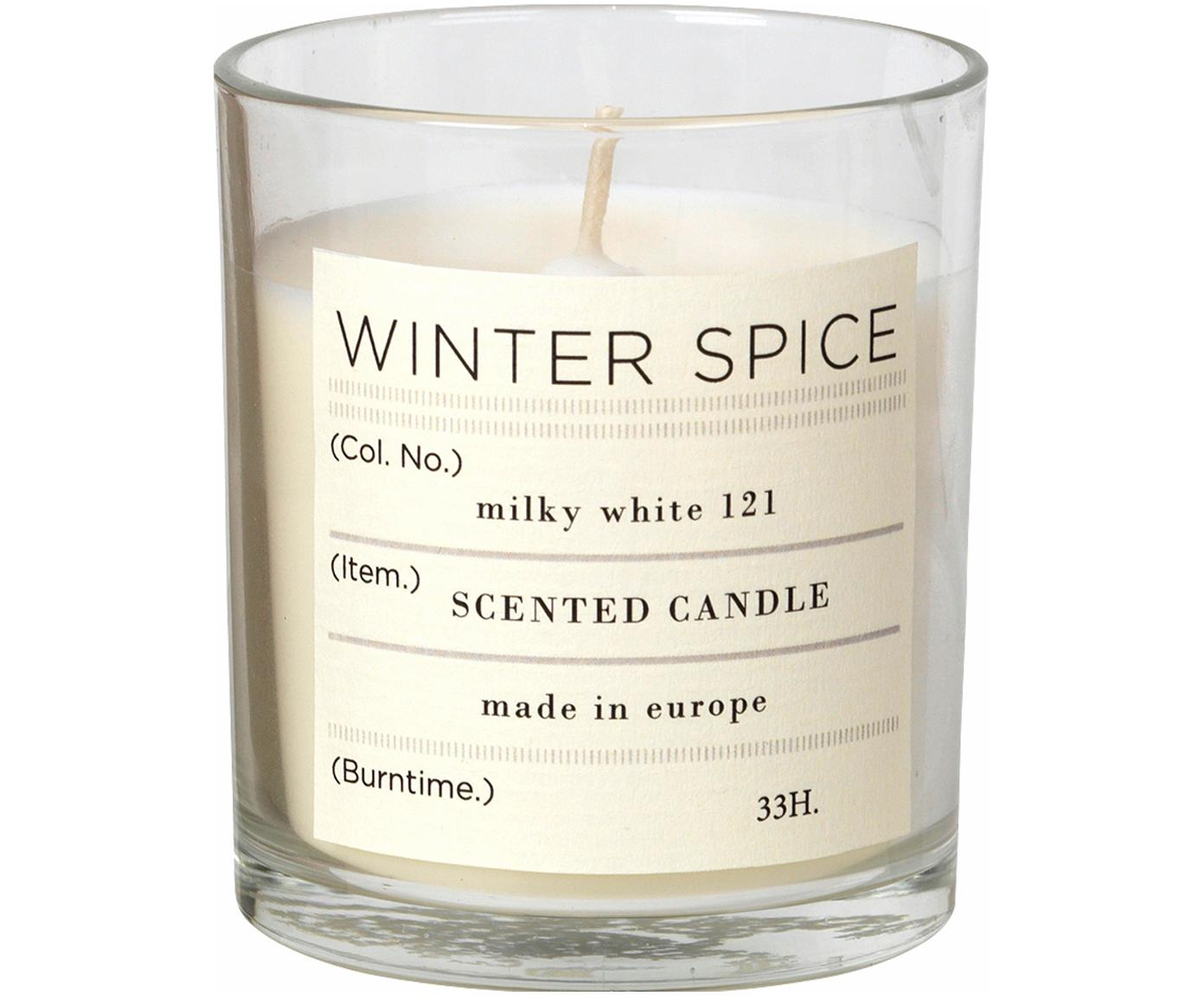 Candela profumata alla cannella Winter, Contenitore: vetro, Contenitore: trasparente Candela profumata: bianco, Ø 7 x Alt. 8 cm