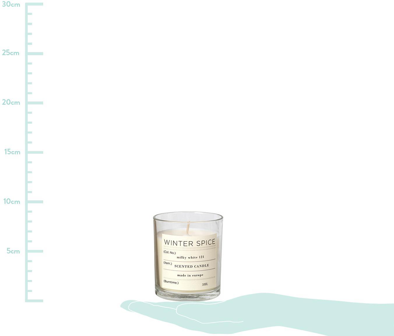 Duftkerze Winter (Zimt), Behälter: Glas, Behälter: TransparentDuftkerze: Weiß, Ø 7 x H 8 cm