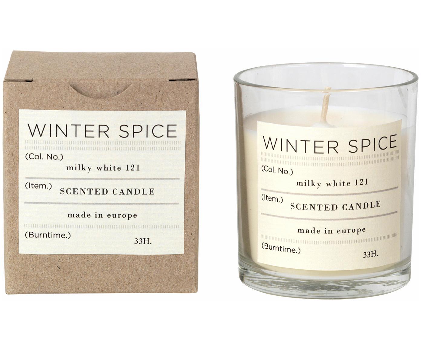 Bougie parfumée Winter (cannelle), Verre: transparent Bougie parfumée: blanc