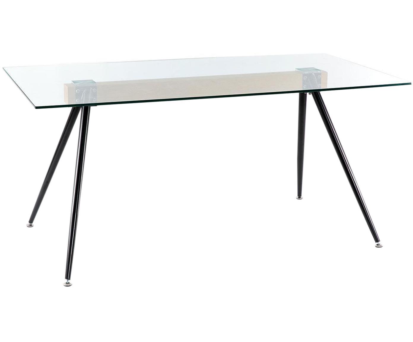 Mesa de comedor Mila, tablero de cristal, Tablero: cristal templado, Patas: hierro, Natural, negro, An 160 x F 90 cm