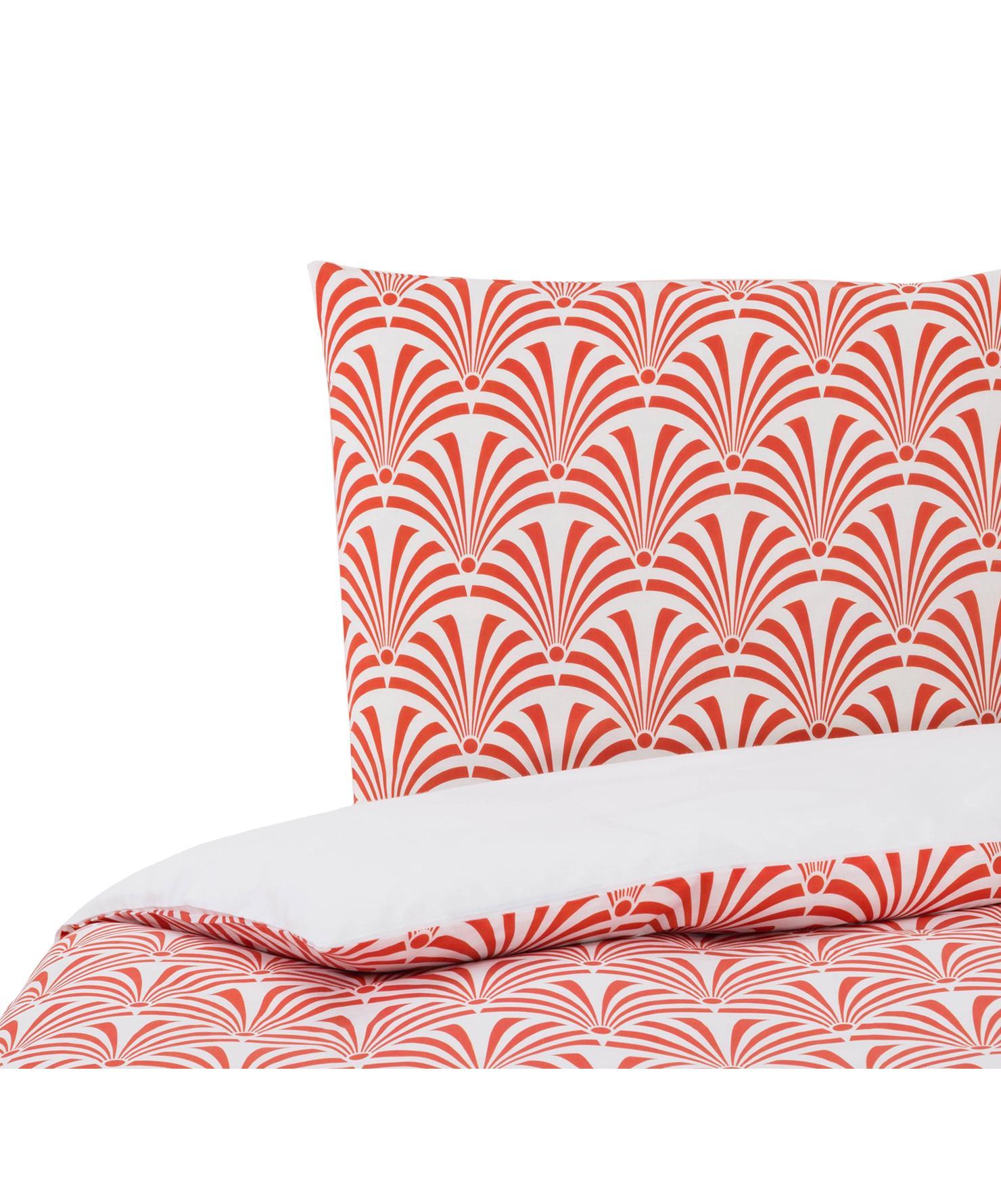 Dubbelzijdig dekbedovertrek Crone, Katoen, Bovenzijde: rood, wit. Onderzijde: wit, 140 x 200 cm