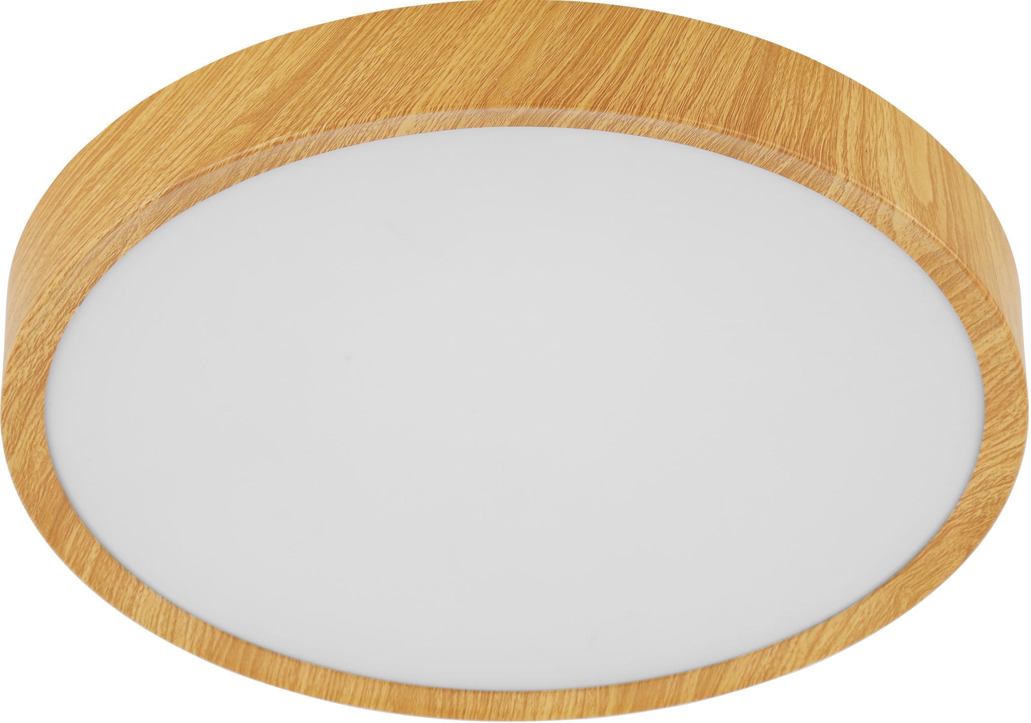 LED-Deckenleuchte Musurita in Holzoptik, Lampenschirm: Kunststoff, Baldachin: Metall, foliert, Braun, Ø 34 x H 6 cm