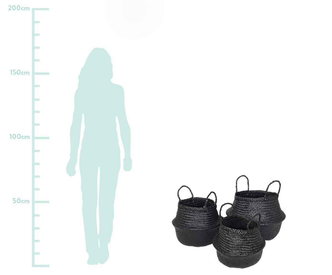 Aufbewahrungskorb-Set Ilse, 3-tlg., Seegras, geflochten, Schwarz, Sondergrößen