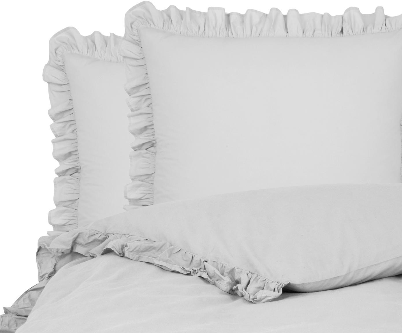 Gewaschene Baumwoll-Bettwäsche Florence mit Rüschen, Webart: Perkal Fadendichte 180 TC, Hellgrau, 240 x 220 cm + 2 Kissen 80 x 80 cm