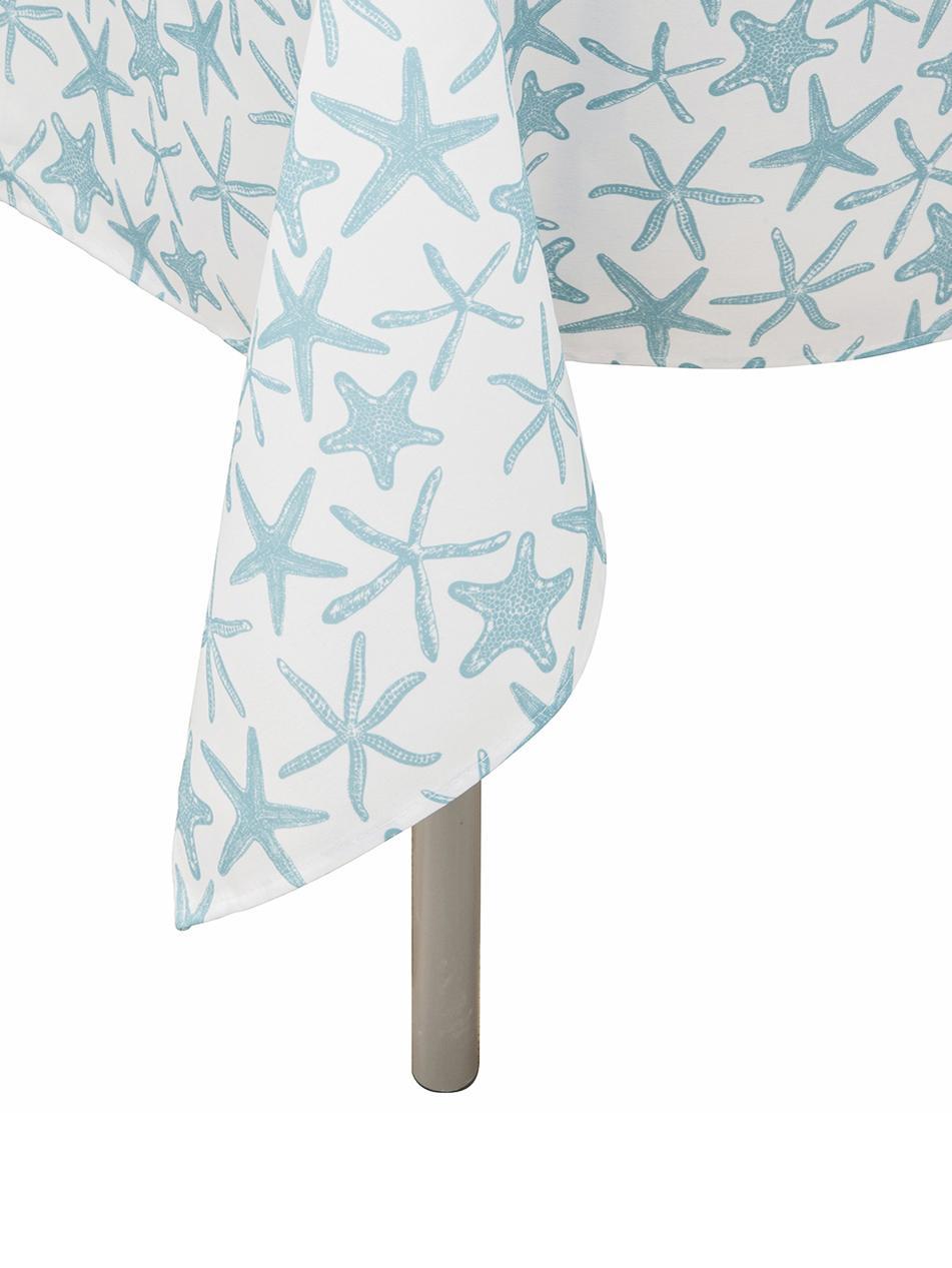 Wasserabweisende Tischdecke Starbone, Polyester, Weiss, Blau, Für 6 - 8 Personen (B 140 x L 240 cm)