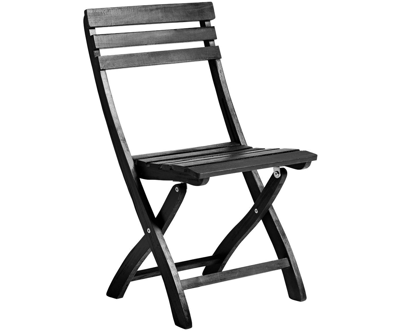 Składane krzesło ogrodowe z drewna Clarish, 2 szt., Drewno akacjowe, olejowane na czarno, Czarny, S 48 x G 45 cm