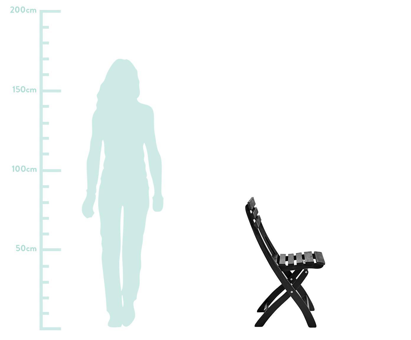Zahradní skládací židle z dřeva Clarish, 2 ks, Černá