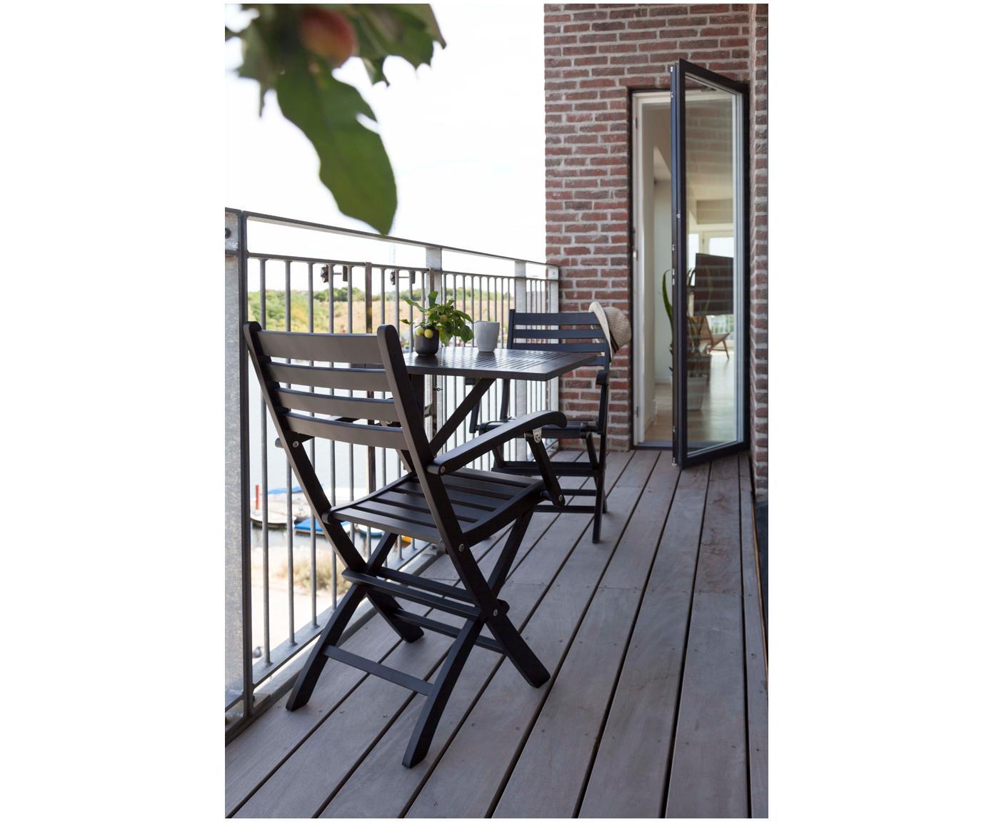 Outdoor klapstoelen Clarish van hout, 2 stuks, Zwart geolied acaciahout, Zwart, B 48 x D 45 cm