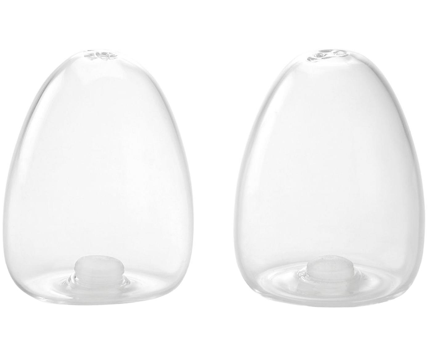 Set salero y pimentero Shally, 2pzas., Recipiente: vidrio, Transparente, Ø 6 x Al 8 cm