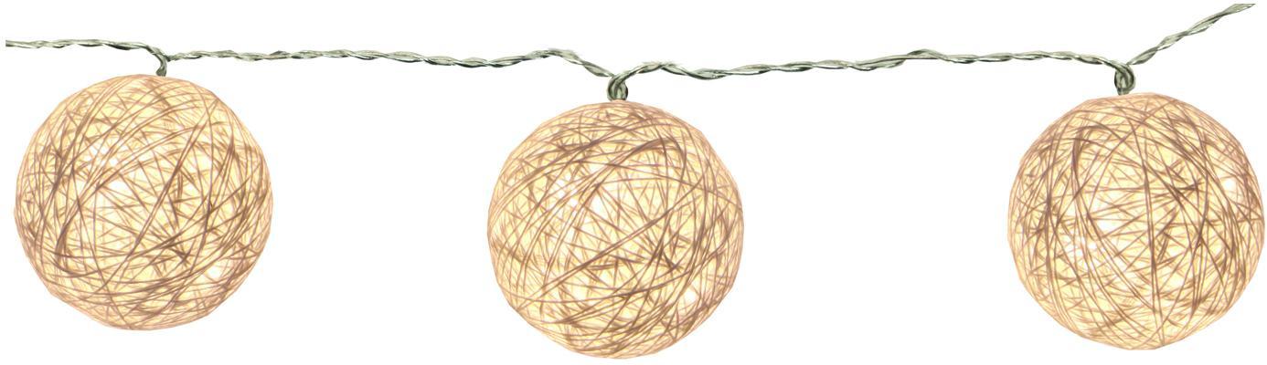Guirnalda de luces LED Jolly Lights, 135cm, Linternas: algodón, Cable: plástico, Blanco crudo, L 135 cm