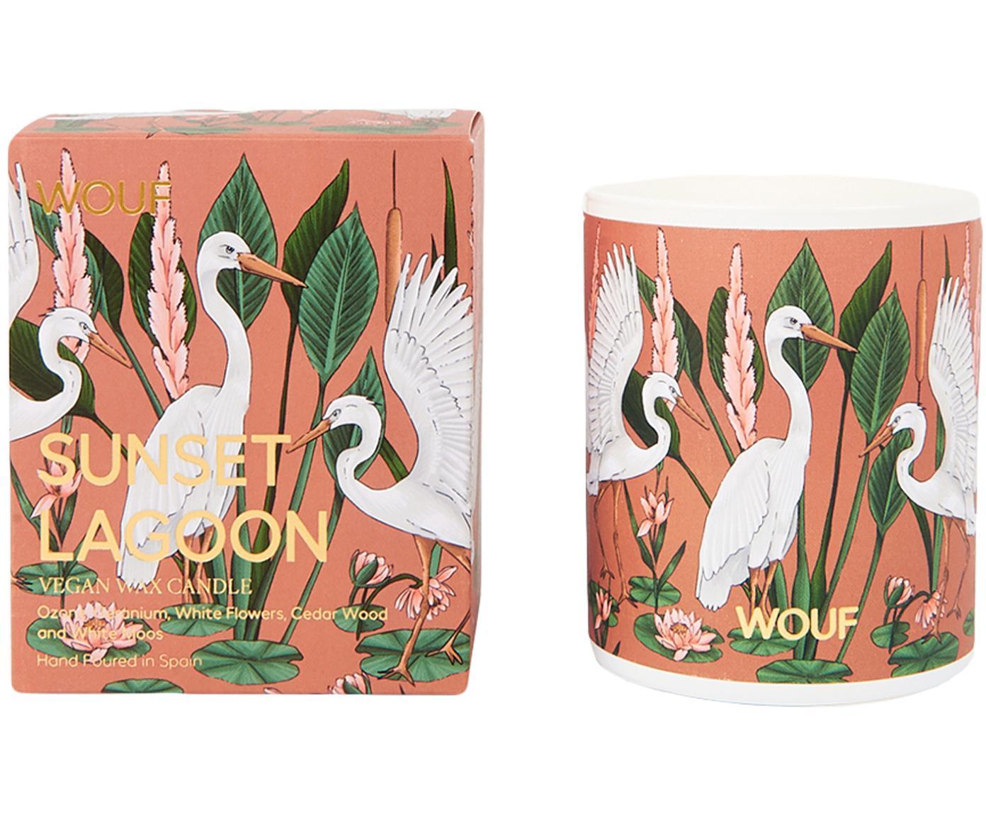 Duftkerze Sunset Lagoon (Geranie, Weiße Blüten, Zedernholz), Vegetarisches Wachs, Glas, Terrakotta, Mehrfarbig, Ø 8 x H 10 cm