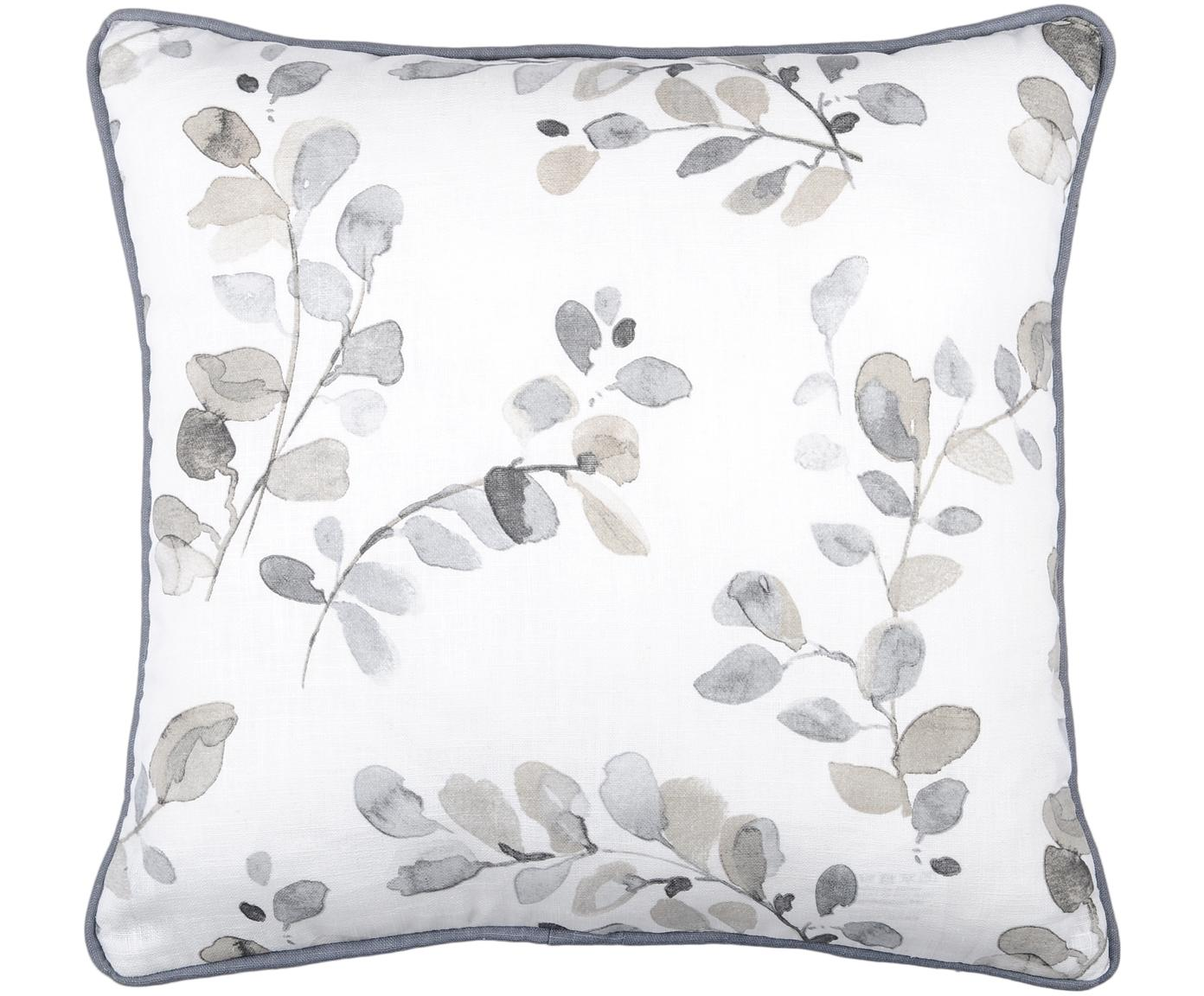 Cuscino con imbottitura Acacia, Rivestimento: 92% ramiè, 8% cotone, Bianco, beige, blu grigio, Larg. 40 x Lung. 40 cm