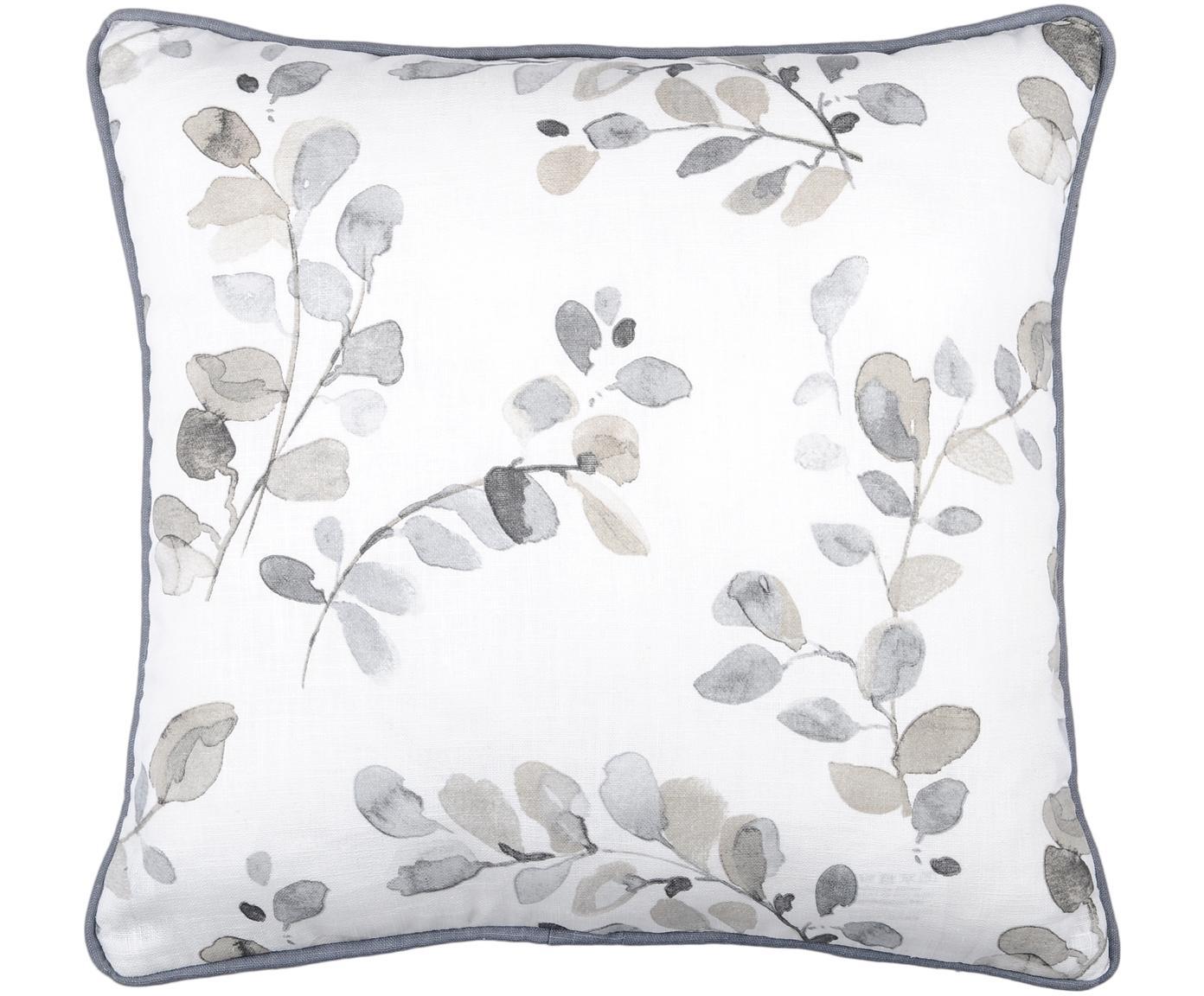 Kissen Acacia, mit Inlett, Bezug: 92% Ramie, 8% Baumwolle, Weiß, Beige, Blaugrau, 40 x 40 cm