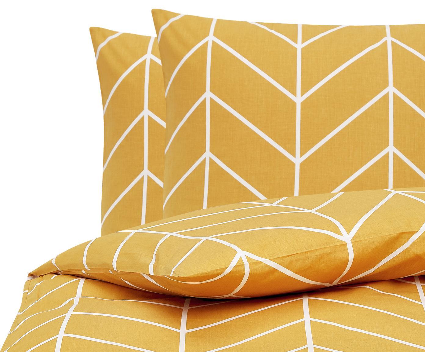 Baumwoll-Bettwäsche Mirja mit grafischem Muster, Webart: Renforcé Fadendichte 144 , Senfgelb, Cremeweiß, 200 x 200 cm + 2 Kissen 80 x 80 cm