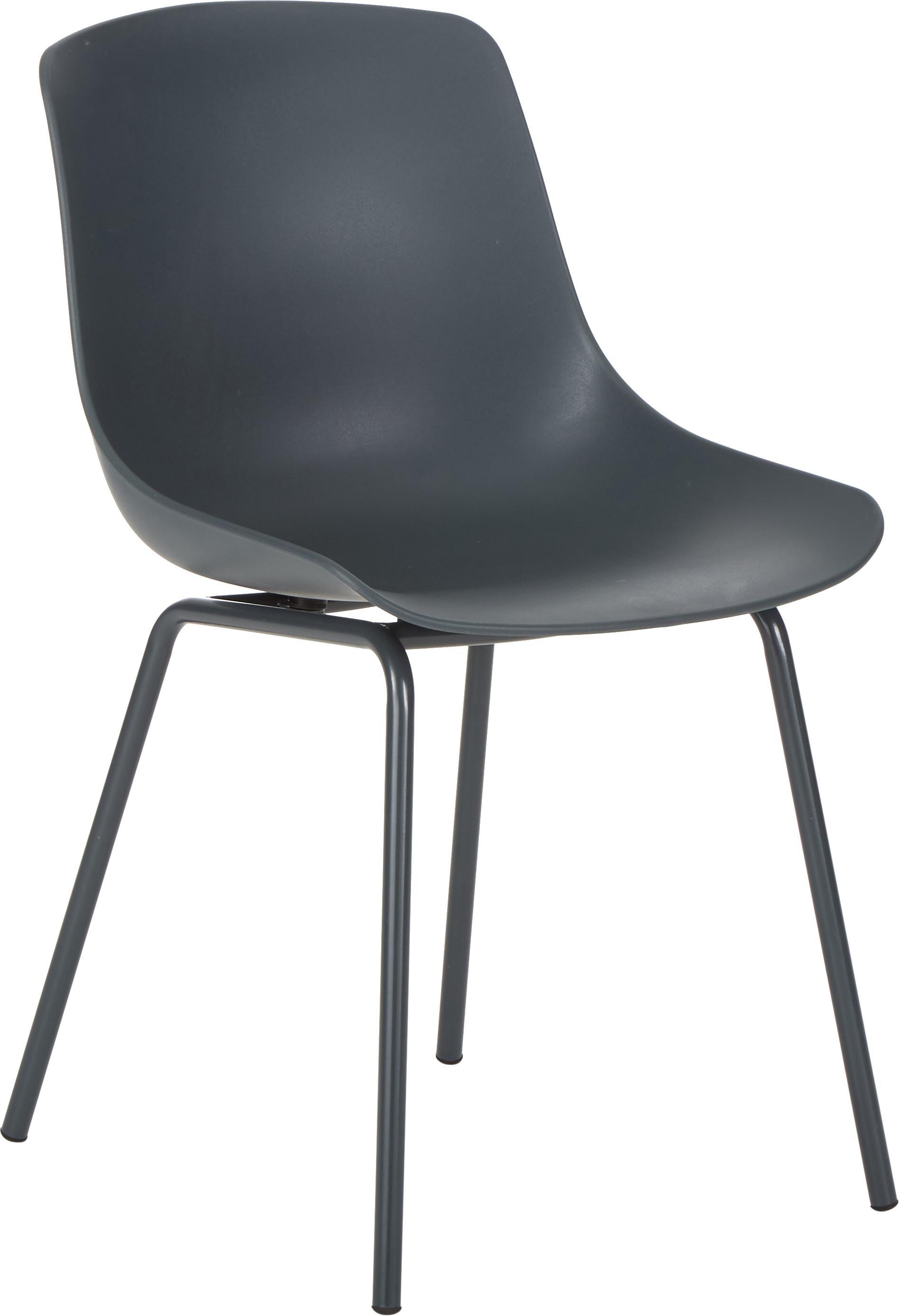 Sedia in plastica con gambe in metallo Dave 2 pz, Seduta: materiale sintetico, Gambe: metallo verniciato a polv, Grigio scuro, Larg. 46 x Prof. 53 cm