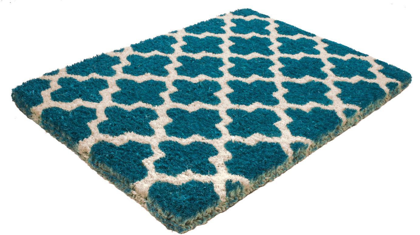 Hohe Fußmatte Annabelle, Oberseite: Kokosfaser, gebleicht, Unterseite: Kokosfaser, Petrol, Beige, 40 x 60 cm
