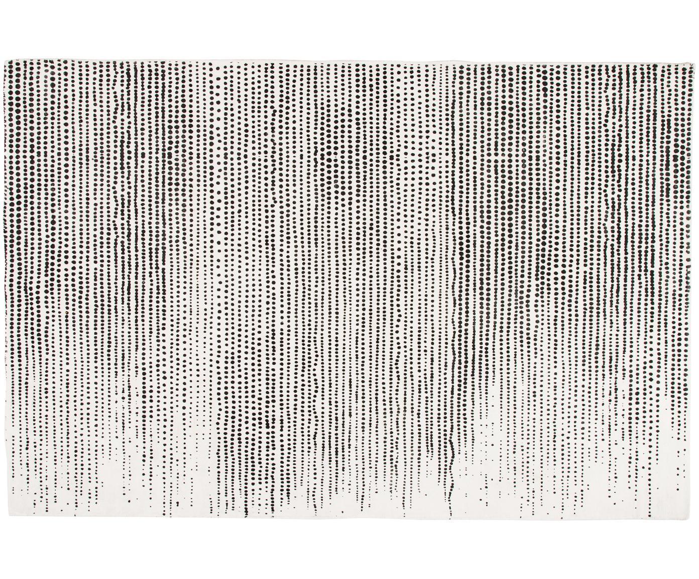Alfombra artesanal de viscosa Lila, Parte superior: 100%viscosa, Reverso: 100%algodón, Crema, negro, An 200 x L 300 cm (Tamaño L)