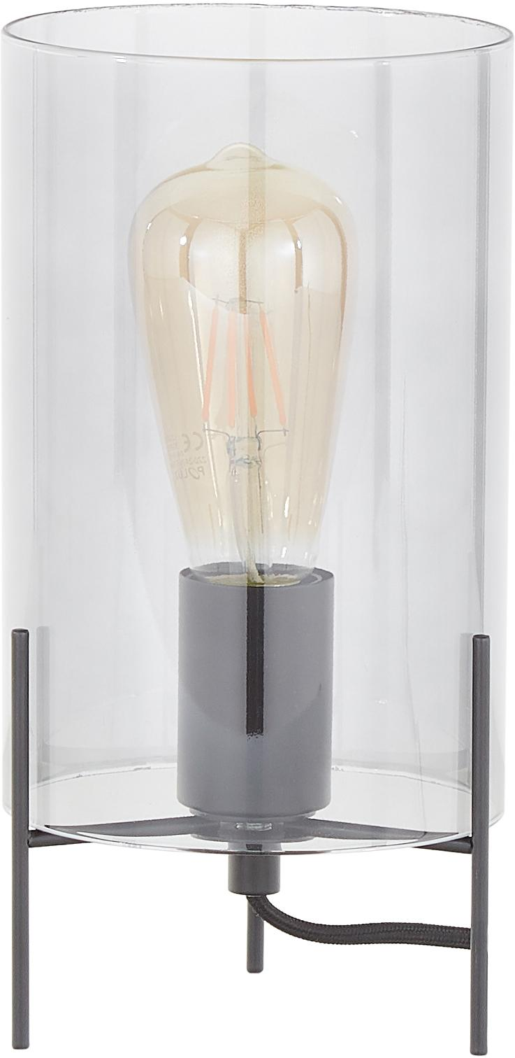 Lámpara de mesa de vidrio Laurel, Pantalla: vidrio, Cable: cubierto en tela, Gris, negro, Ø 14 x Al 28 cm