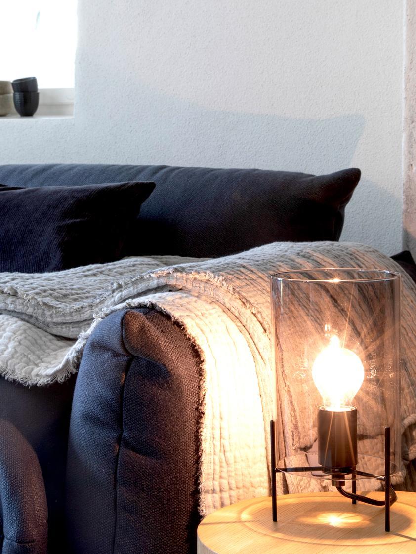 Tafellamp Laurel, Lampvoet: gepoedercoat metaal, Lampenkap: glas, Lampenkap: grijs, transparant. Lampvoet: mat zwart. Snoer: transparant, Ø 14 x H 28 cm