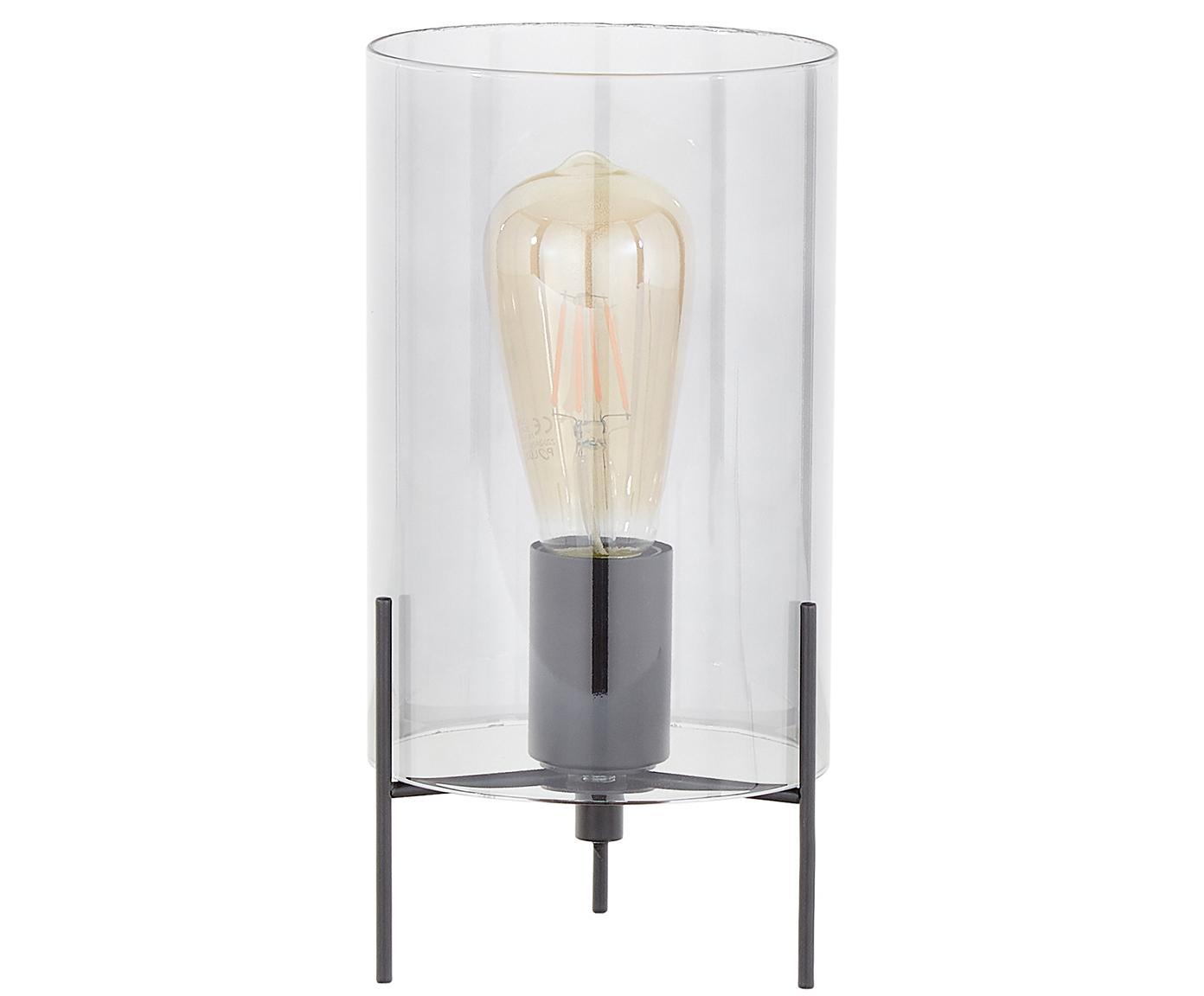 Lampada da tavolo Laurel, Base della lampada: metallo verniciato a polv, Paralume: vetro, Paralume: grigio trasparente Base della lampada: nero opaco Cavo: trasparente, Ø 14 x Alt. 28 cm