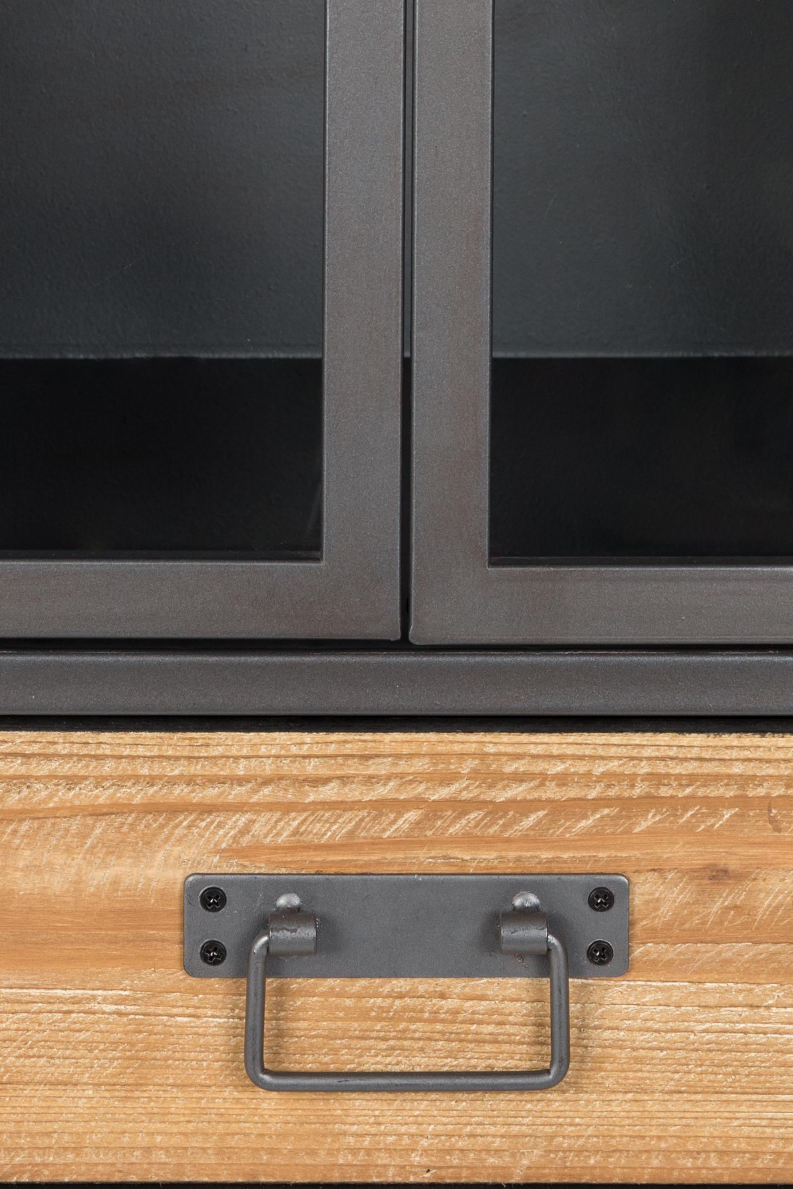 Vitrinenschrank Damian aus Holz und Metall, Einlegeböden: Tannenholz, Schrank, Schubladen: TannenholzGestell, Griffe: GrauTüren: Transparent, 52 x 109 cm