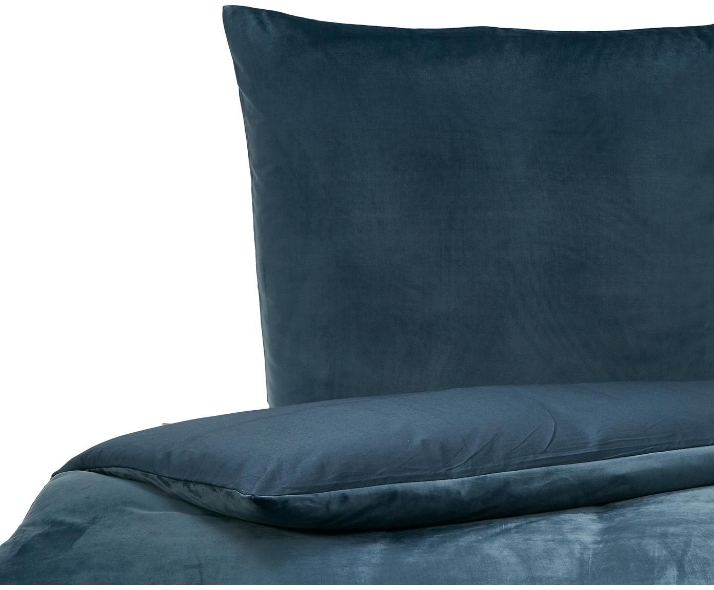 Samt-Bettwäsche Tender, Vorderseite: Polyestersamt, Rückseite: 100% Baumwolle Bettwäsche, Blau, 135 x 200 cm + 1 Kissen 80 x 80 cm