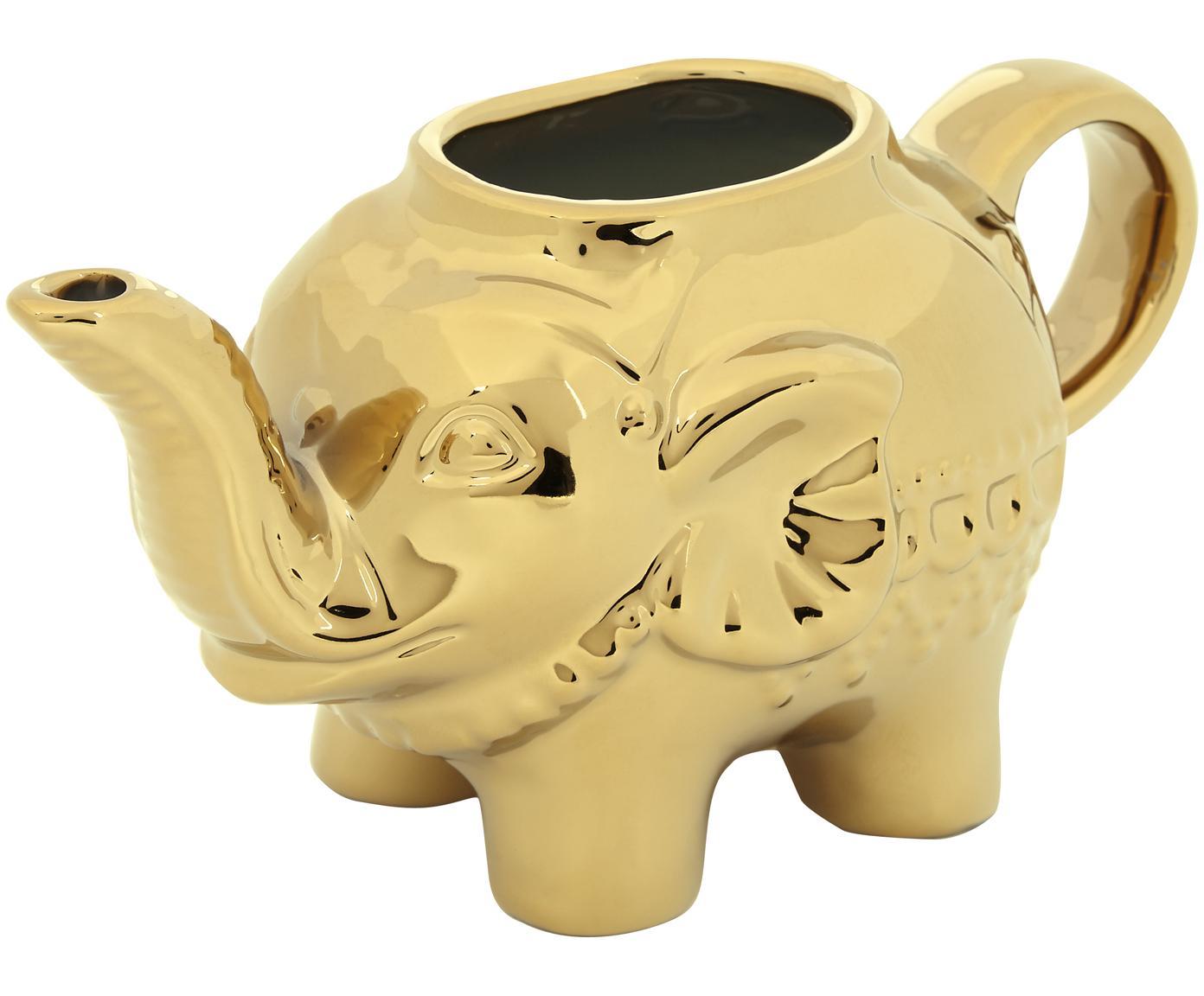 Lechera Elephant, Porcelana, Dorado, An 15 x Al 8 cm