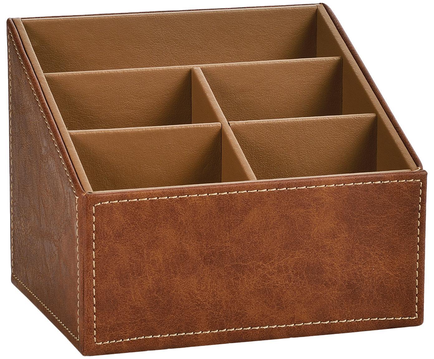 Organizador de escritorio Storage, Tapizado: poliuretano (cuero sintét, Estructura: tablero de fibras de dens, Marrón, An 17 x Al 13 cm