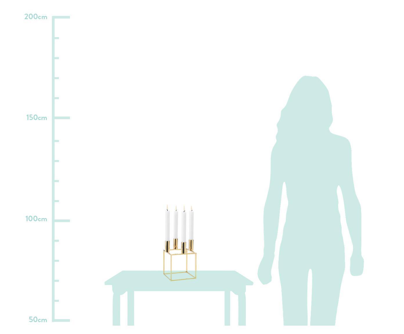 Kerzenhalter Kubus, Stahl, vermessingt, gebürstet, Messing, 14 x 20 cm