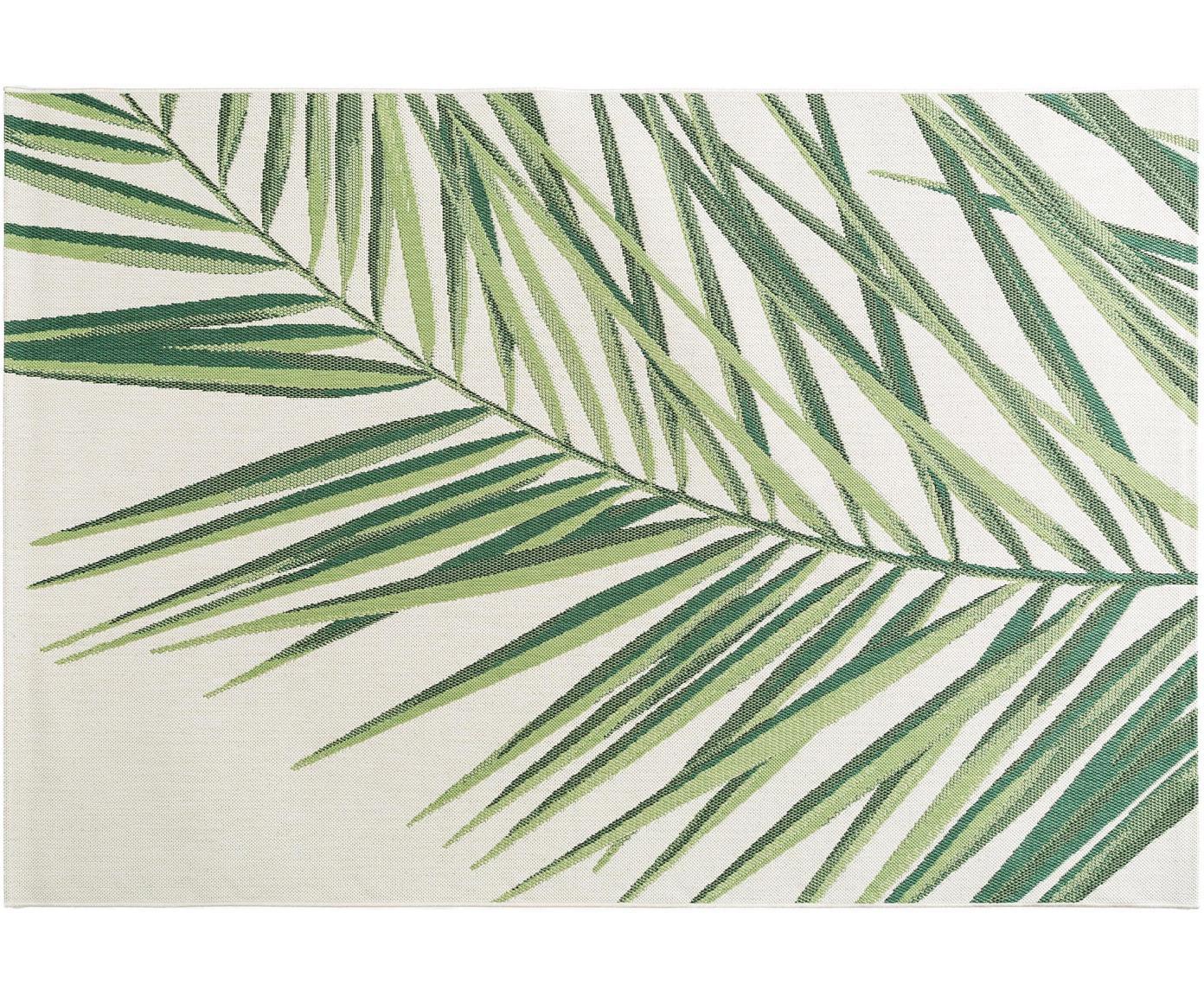 In- & outdoor vloerkleed Capri Palm met palmbladmotief, Polypropyleen, Groen, beige, B 80 x L 150 cm (maat XS)