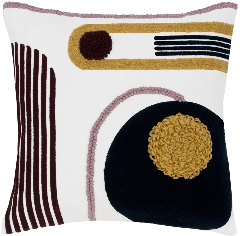 Federa arredo con ornamento astratto Allard, Cotone, Fronte: multicolore Retro: bianco, Larg. 45 x Lung. 45 cm