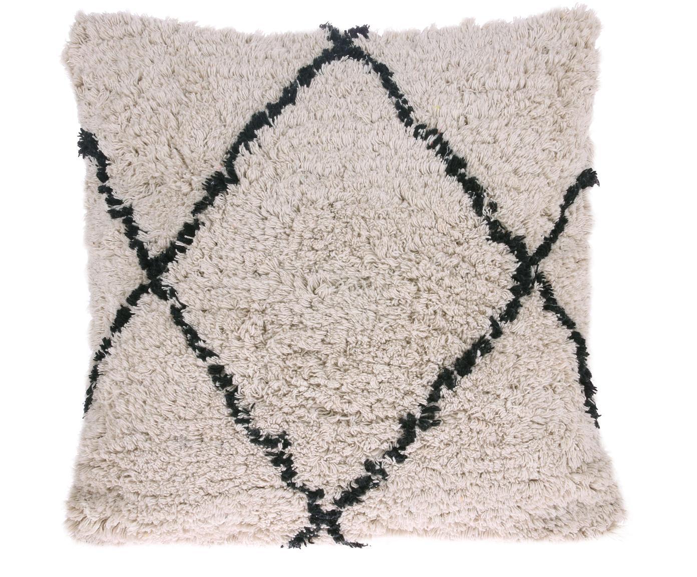 Kussen Diamond met getuft oppervlak, met vulling, 100% katoen, Gebroken wit, zwart, 50 x 50 cm