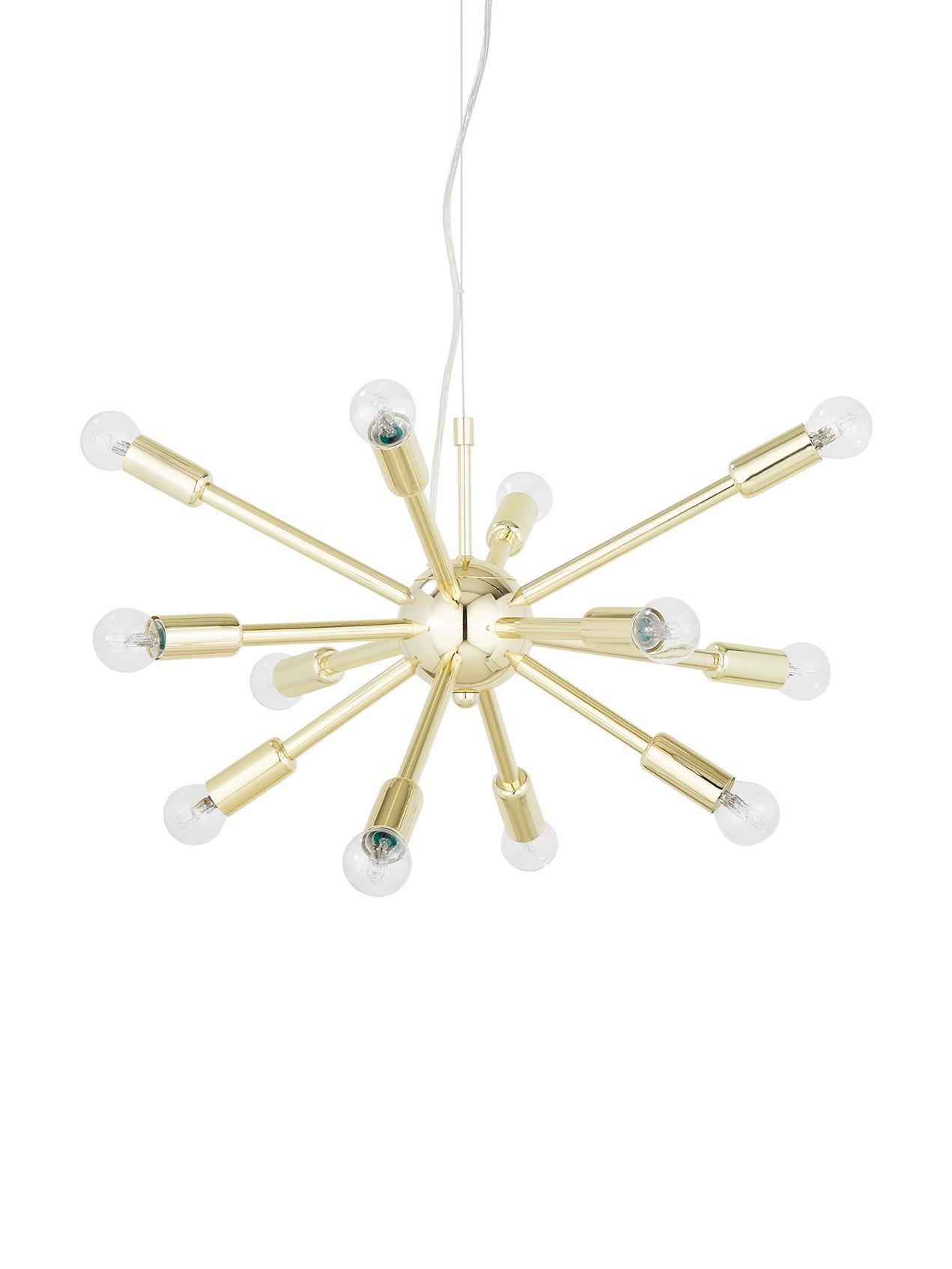 Hanglamp Spike goudkleurig, Baldakijn: vermessingd metaal, Lampenkap: vermessingd metaal, Baldakijn: glanzend goudkleurig. Lampenkap: glanzend goudkleurig, Ø 50 cm