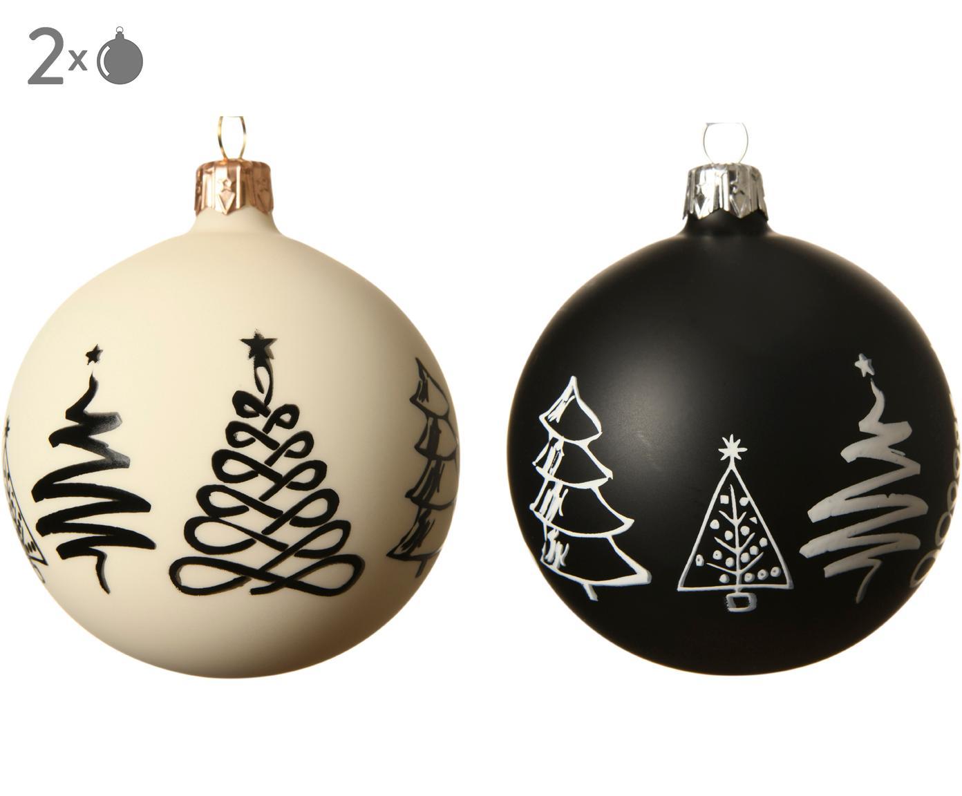 Kerstballenset Cartoony, 2-delig, Glas, Wit, zwart, Ø 8 cm
