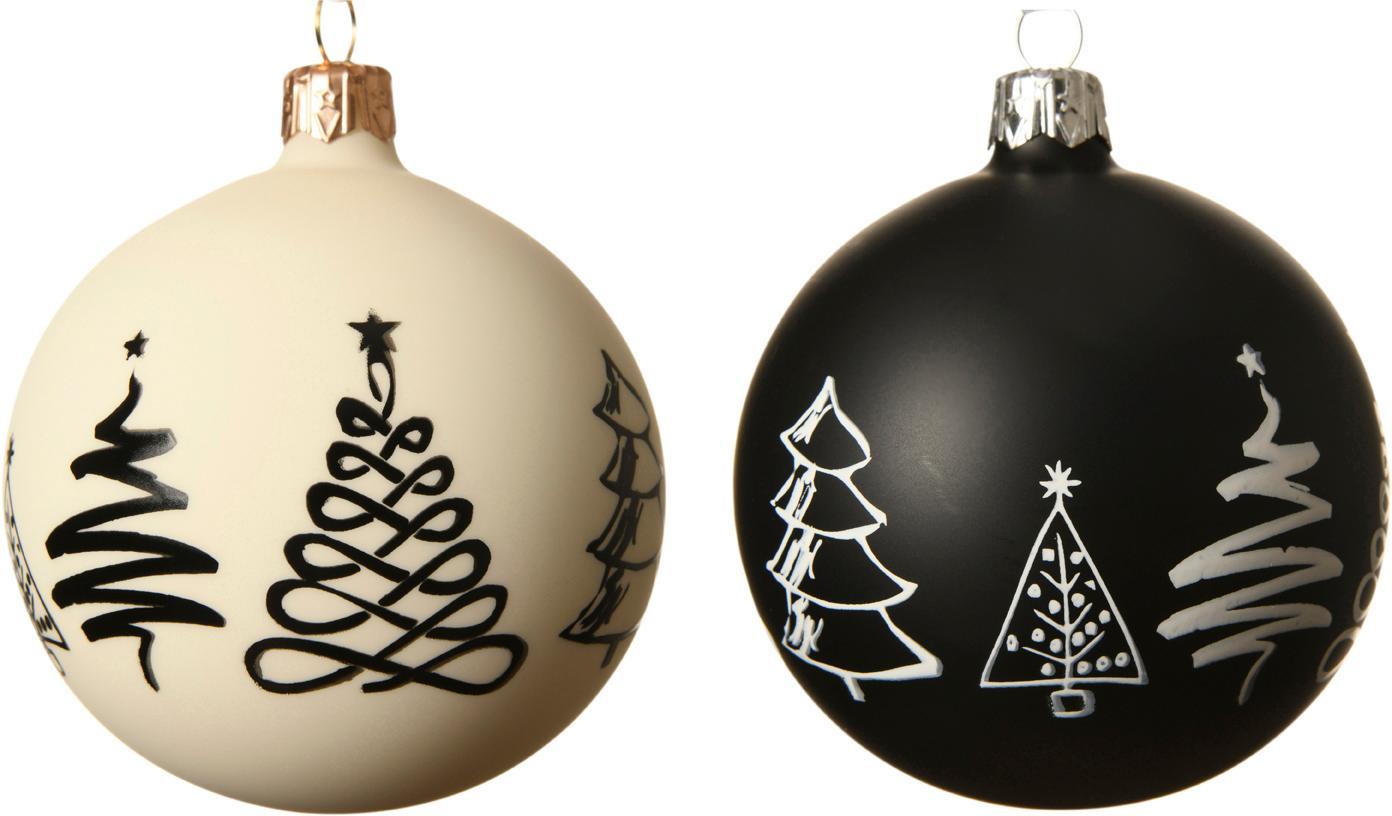 Set 2 palle di Natale Cartoony Ø 8 cm, Vetro, Bianco, nero, Ø 8 cm