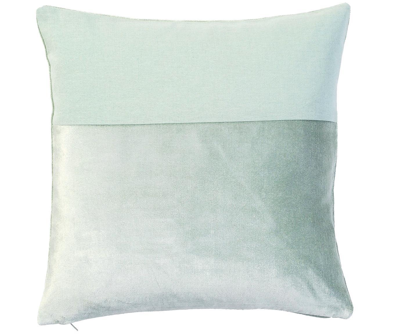 Funda de cojín de terciopelo y lino Adelaide, Parte superior: 50%algodón, 50%lino, Verde salvia, An 40 x L 40 cm