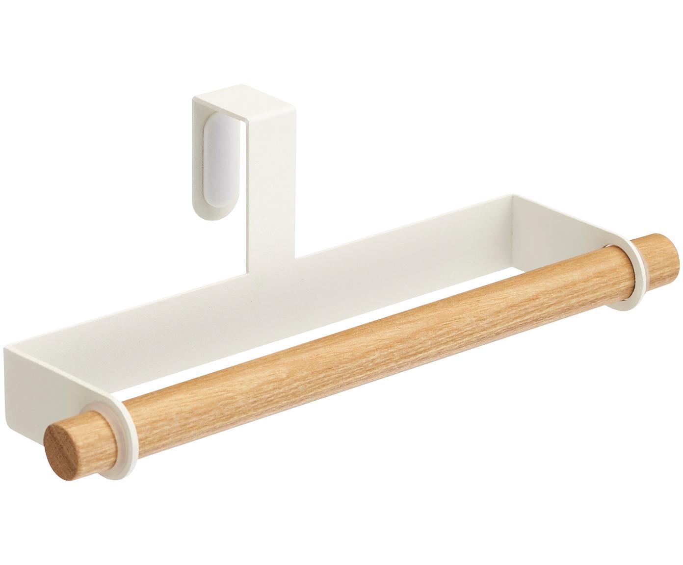 Handdoekenhouder Tosca, Houder: gecoat staal, Stang: hout, Wit, houtkleurig, 19 x 6 cm
