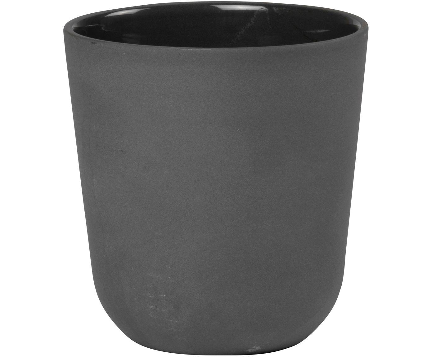 Becher Nudge in Dunkelgrau matt/glänzend, 4 Stück, Porzellan, Dunkelgrau, Ø 9 x H 10 cm