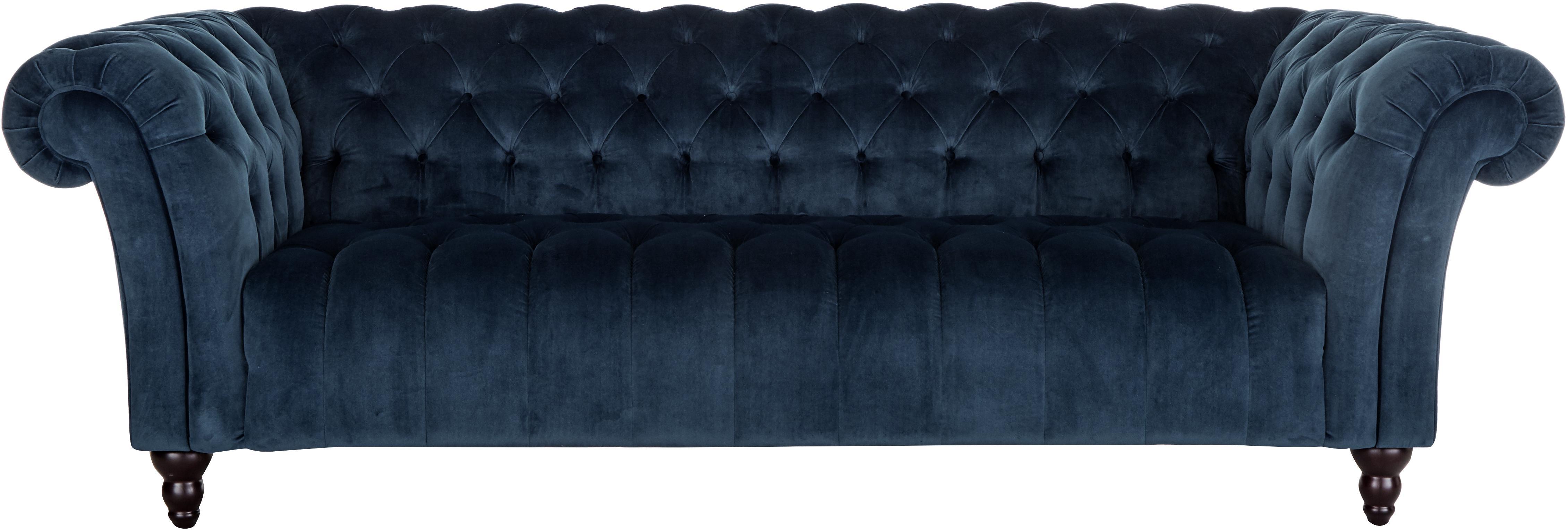 Fluwelen chesterfield bank Gladis (3-zits), Bekleding: 100% polyester, Poten: gelakt eikenhout, Frame: houten basisframe, Donkerblauw, 230 x 74 cm