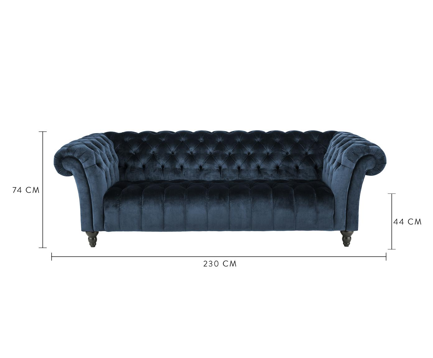 Chesterfield Samt-Sofa Gladis (3-Sitzer), Bezug: 100% Polyester, Beine: Eichenholz, lackiert, Rahmen: Holzgrundgestell, Samt Dunkelblau, 230 x 74 cm