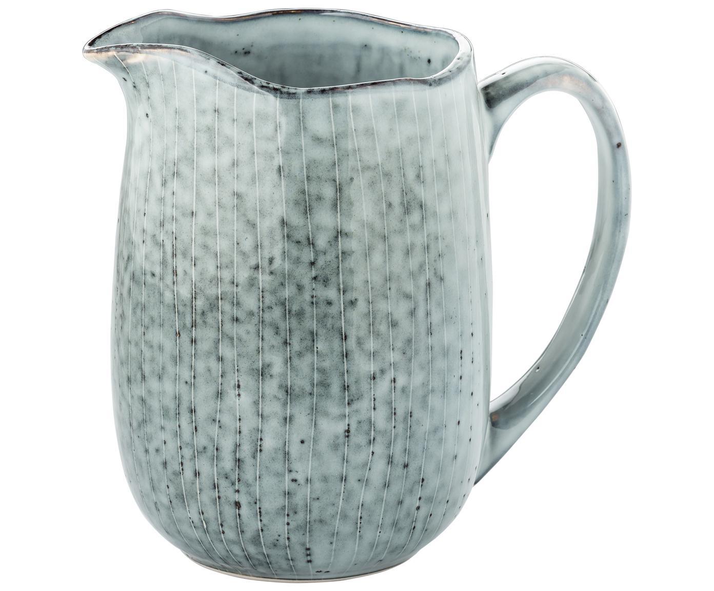 Ręcznie wykonany dzbanek do mleka Nordic Sea, Kamionka, Odcienie szarego i niebieskiego, S 17 x W 16 cm