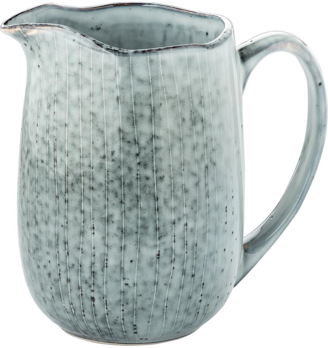 Ręcznie wykonany dzbanek do mleka z kamionki Nordic Sea, Kamionka, Odcienie szarego i niebieskiego, S 17 x W 16 cm
